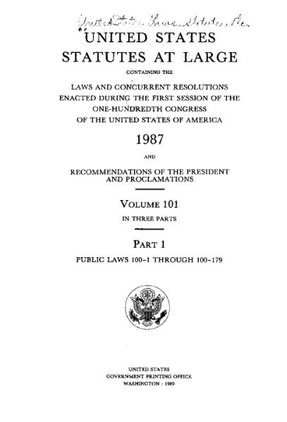 File:United States Statutes at Large Volume 101 Part 1.djvu