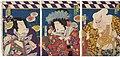 Utagawa Kunisada II - Actors Nakamura Shikan IV as Kiichi Hôgen, Bandô Mitsugorô VI as Minazuru-hime, and Sawamura Tosshô II as Torazô, Actually Ushiwaka.jpg