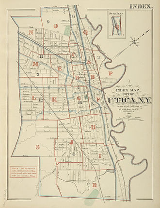 Utica, New York - This 1883 index map shows the development around Utica and Bagg's Square, with the Erie Canal (now Oriskany Street) and Chenango Canal towards the upper-right.