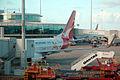 VH-VYE 'Karak' Boeing 737-838 Qantas sporting the Melbourne 2006 Commonwealth Games Livery (9002132393).jpg