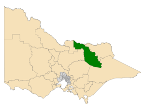 Electoral district of Ovens Valley - Location of Ovens Valley (dark green) in Victoria