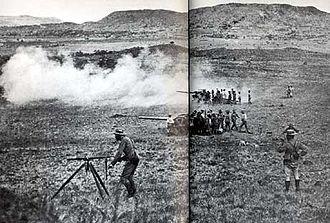 Battle of Vaal Krantz - British naval guns in action at the Battle of Vaal Krantz