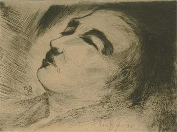 English: Vincent van Gogh on his deathbed Fran...