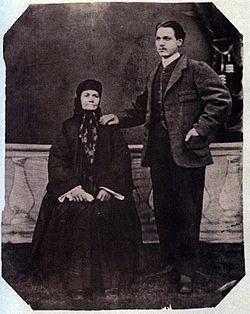 Майката на Левски– Гина Кунчева, с Начо Андреев Начев– най-големият ѝ внук, 1876 г.