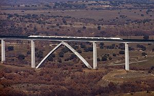 Madrid–León high-speed rail line - A northbound AVE-S 102 train crosses the Arroyo del Valle Viaduct soon after the line opened