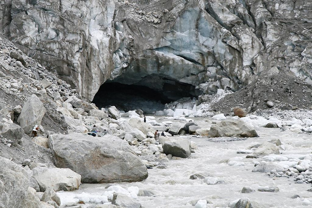 Gomukh, the cave at Gangothri where the river begins (Alt. 14000 ft.)