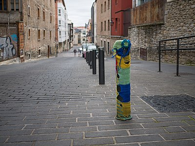 Knitted graffiti in the Old Town of Vitoria-Gasteiz. Basque Country, Spain