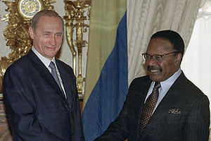 Omar Bongo - Bongo with Russian President Vladimir Putin in Moscow whilst on a state visit in 2001.