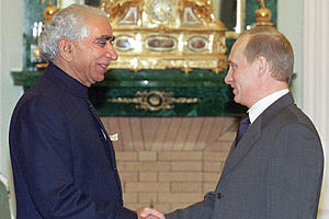 THE KREMLIN, MOSCOW. Vladimir Putin with Jaswa...