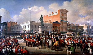 Firefighting in the United States - Volunteer Firemen's Parade, March 4th 1872 in New Orleans around the statue of Henry Clay. Painting by Victor Pierson and Paul E. Poincy.