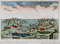 Vue de la descente a Terre Neuve par le chevalier de Ternay en 1762