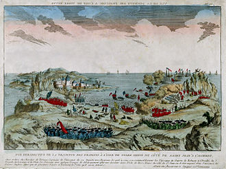A French invasion of the Newfoundland was repulsed during the Battle of Signal Hill in 1762. Vue de la descente a Terre Neuve par le chevalier de Ternay en 1762.jpg