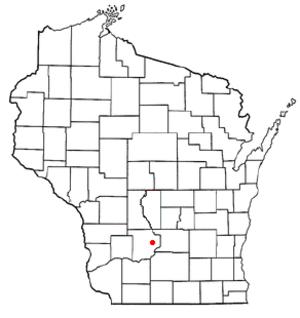 Baraboo (town), Wisconsin - Image: WI Map doton Baraboo town