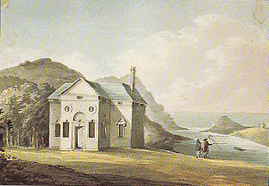 """Watermouth Castle - """"Watermouth seat of (blank) Davie Esq."""" The Palladian house at Watermouth in 1796, built by Hugh Fortescue, 1st Earl of Clinton (1696–1751), as drawn by Rev. John Swete, before demolition and replacement by Watermouth Castle"""