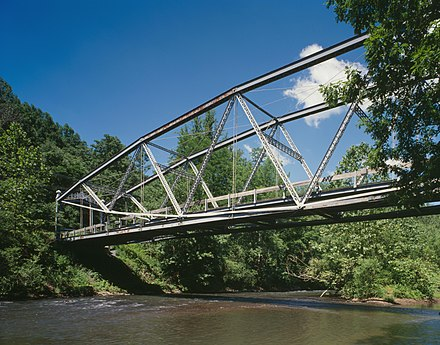 The Waterville Bridge in Swatara State Park in Pennsylvania is a lenticular truss Waterville Bridge in Swatara State Park HAER 462-14.jpg