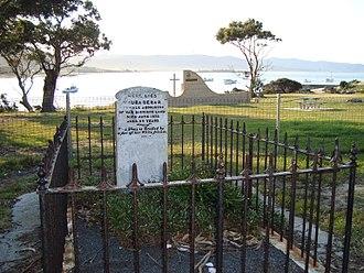 Bicheno, Tasmania - Wauba Debar's grave and headstone