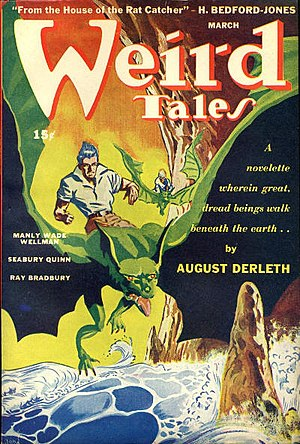 "Cthulhu Mythos - Cover of the pulp magazine Weird Tales (March 1944, vol. 37, no. 4) featuring ""The Trail of Cthulhu"" by August Derleth. Cover art by John Giunta."