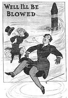 "A postcard from 1905, with the text ""Well I'll Be Blowed"", a depiction of two people being blown away, and a depiction of the Flatiron Building in the background"