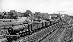 West Ealing railway station - The original station building visible in the distance, on the far right, in 1962. The milk dock is visible near the centre; platform 1 and its siding are visible on the extreme right.