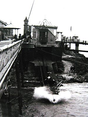 Weston-super-Mare Lifeboat Station - The second William James Holt being launched from the north boathouse