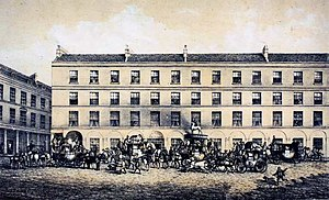 Eleazer Pickwick - Coaches outside the White Hart Inn in Bath (demolished 1869)