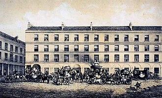 Eleazer Pickwick - Coaches outside the White Hart Inn in Bath (demolished 1869)
