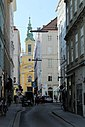 Wien-Innenstadt, Plankengasse, Blick zur Reformierten Stadtkirche.JPG