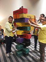 Wikimania 2015-Wednesday-Volunteers play Weasel-Jenga (26).jpg