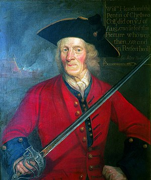 Chelsea Pensioner - Sergeant William Hiseland, an English Civil War cavalier and one of the first pensioners to be admitted to the Royal Hospital in London