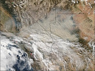 Cedar Fire (2003) - Smoke from the fires drifts toward Arizona and Nevada, after the wind shifted on October 29