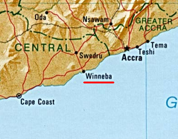 Winneba is located 56 km (35 mi) west of Accra and 140 km (90 mi) east of Cape Coast