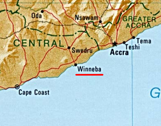 Winneba - Image: Winneba location