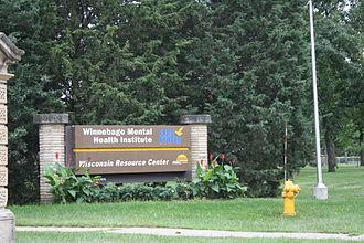 Winnebago Mental Health Institute - Sign at the main entrance
