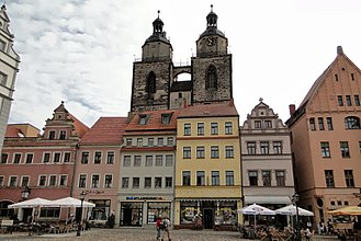 Wittenberg - Market square with Stadtkirche Wittenberg