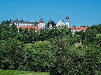 Schloss Wolfegg - Schloss Wolfegg with parish church (2013)