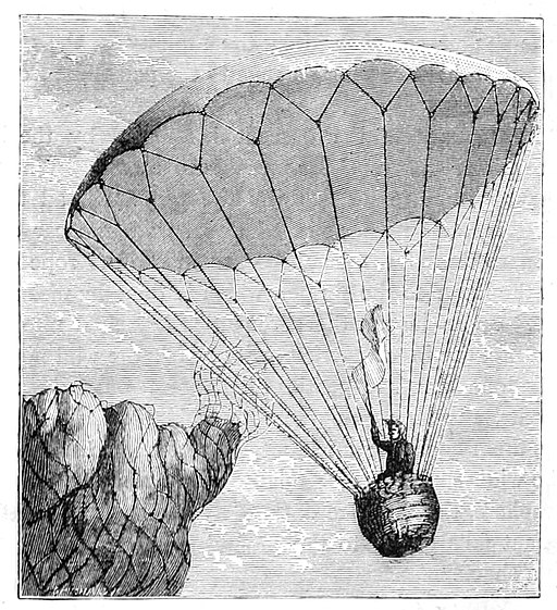 Wonderful Balloon Ascents, 1870 - Garnerin's Descent in a Parachute