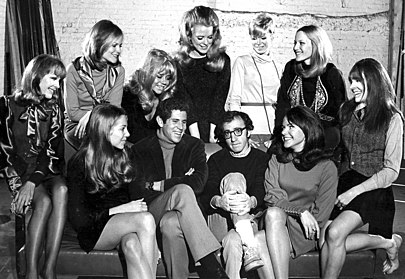 From the original Broadway cast of Play It Again, Sam. Third from left is Tony Roberts; fourth from left is Woody Allen. Diane Keaton is on the far right. (1969) Woody Allen - Sam.JPG