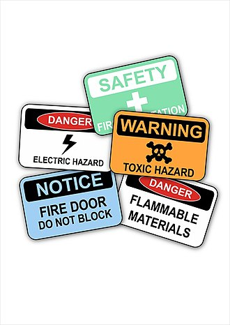 Construction site safety - Various workplace safety signs commonly used at construction sites and industrial work environments