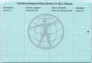 World Passport - Image: World Passport children info page
