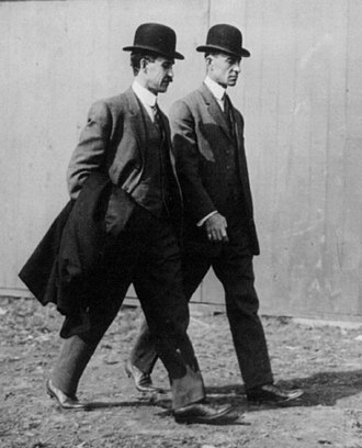 Bowler hat - The aviation-pioneering Wright brothers wearing their bowlers in 1910.