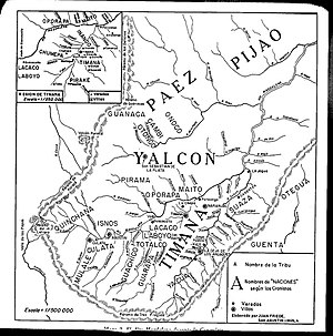 Gaitana - Map of indigenous peoples in the south of Huila