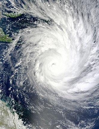 Cyclone Yasi - Satellite image of Cyclone Yasi intensifying on 1 February