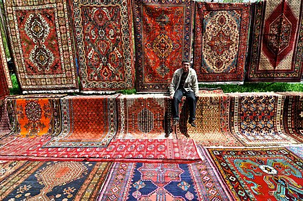 Handmade Armenian rugs at the Yerevan Vernissage