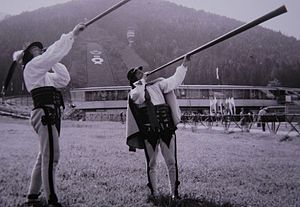 Trembita - Podhale highlanders, Poland, playing trombitas.