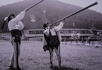 Trembita - Podhale highlanders, Poland, playing trombitas.