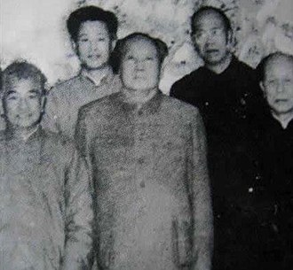 Zhao Ziyang - Zhao (top left) pictured with Mao Zedong in Wuhan, January 1966