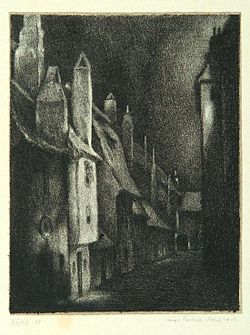 """The Street of the Alchemists"", page 21 from the book ""Der Golem"", illustrated by Hugo Steiner-Prag"