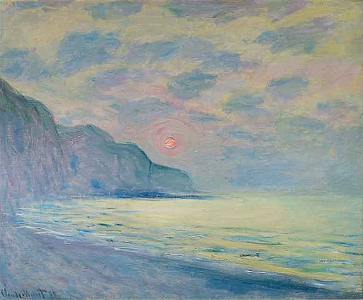 'Soleil couchant, temp brumeux, Pourville' by Claude Monet, 1882. Oil on canvas