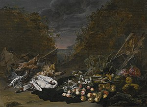 'the other' Jan van Kessel - A still life of a swan and other birds, with rabbits, fruit and vegetables and a landscape beyond