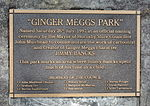 Plaque in Ginger Meggs Park, Hornsby, which was named after Bancks's character